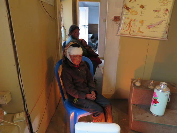 2015 Nepal Earthquake - Patients being treated at Thami Clinic after Earthquake
